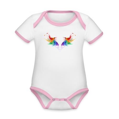 Ailes d'Archanges aux belles couleurs vives - Body Bébé bio contrasté manches courtes