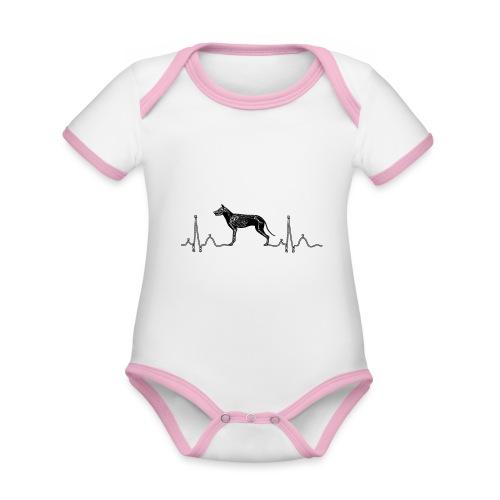 ECG met hond - Baby contrasterend bio-rompertje met korte mouwen