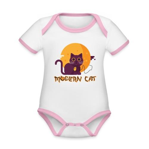 gatto moderno animale topo luna arte animale domestico - Body da neonato a manica corta, ecologico e in contrasto cromatico