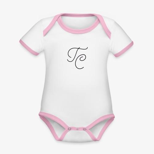 LOGO TC NERO - Body da neonato a manica corta, ecologico e in contrasto cromatico