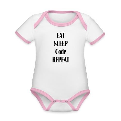 EAT SLEEP CODE REPEAT - Baby Bio-Kurzarm-Kontrastbody