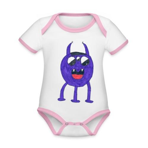 Monster - Ekologisk kontrastfärgad kortärmad babybody