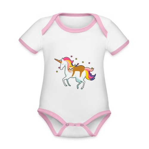 Funny Sloth Riding Unicorn - Baby Bio-Kurzarm-Kontrastbody