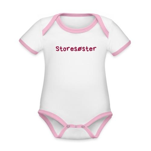 Storesøster - Økologisk kortermet kontrast-babybody
