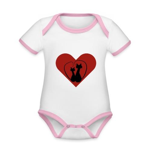 You love cats? Zwarte lovecats met mooi rood hart - Baby contrasterend bio-rompertje met korte mouwen