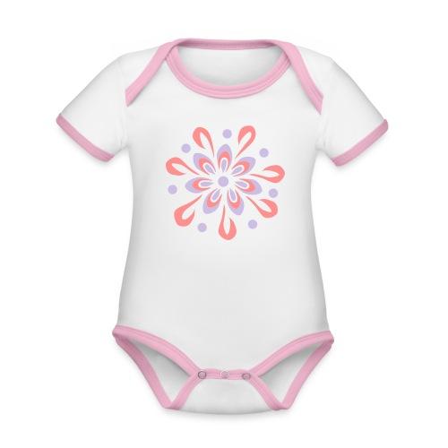 flowerpower - Baby Bio-Kurzarm-Kontrastbody