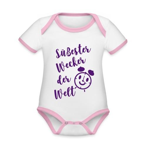 Süßester Wecker der Welt - Baby Bio-Kurzarm-Kontrastbody