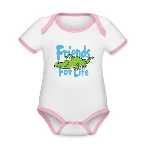 Friends for life - Baby contrasterend bio-rompertje met korte mouwen