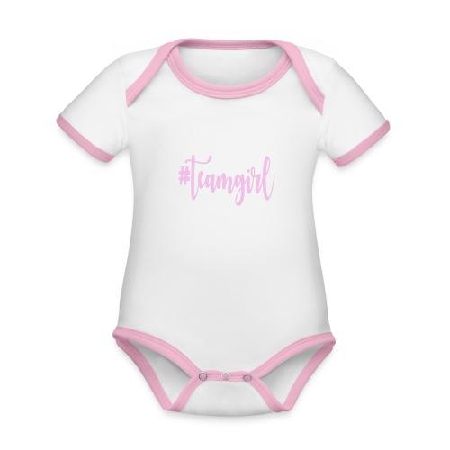 Team girl - Baby contrasterend bio-rompertje met korte mouwen