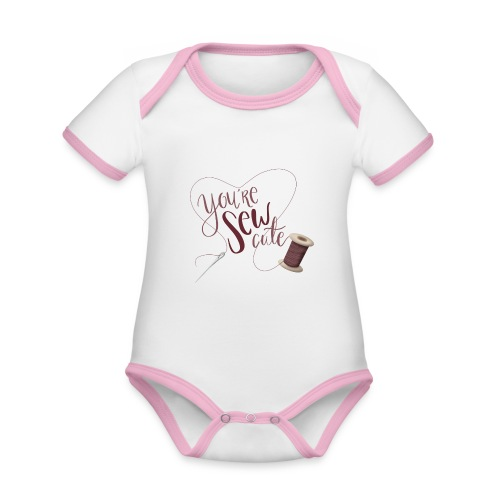 You're sew cute - Ekologisk kontrastfärgad kortärmad babybody