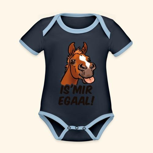 Fohlen Is Mir Egaal! (schwartzer Text) - Body Bébé bio contrasté manches courtes
