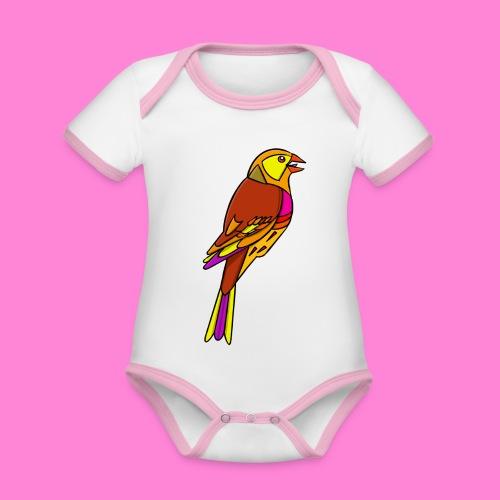 Geelgors illustratie - Baby contrasterend bio-rompertje met korte mouwen