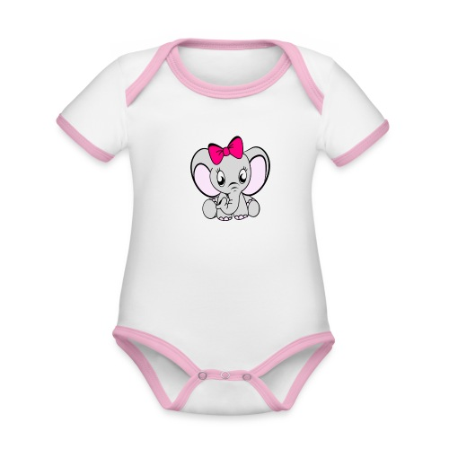 Baby meisje Olifant met grote strik - Baby contrasterend bio-rompertje met korte mouwen
