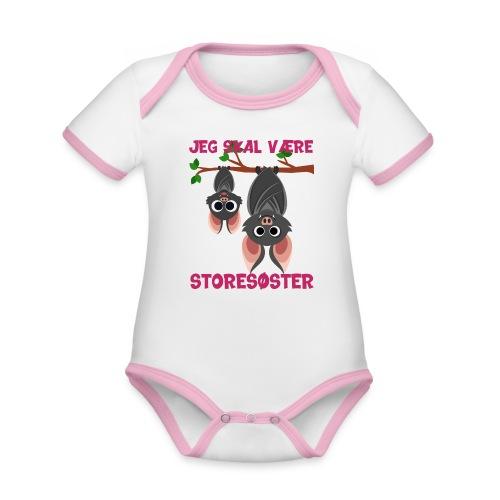 Jeg skal være storesøster flagermus gave fødsel - Kortærmet økologisk babybody i kontrastfarver