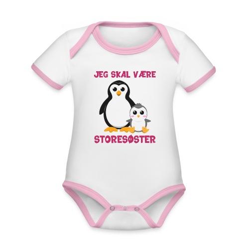 Jeg skal være storesøster pingvin gave fødsel sød - Kortærmet økologisk babybody i kontrastfarver