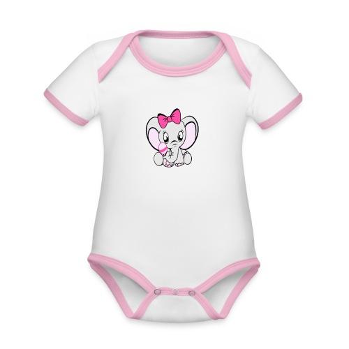 Baby olifantje met rammelaar en grote roze strik - Baby contrasterend bio-rompertje met korte mouwen