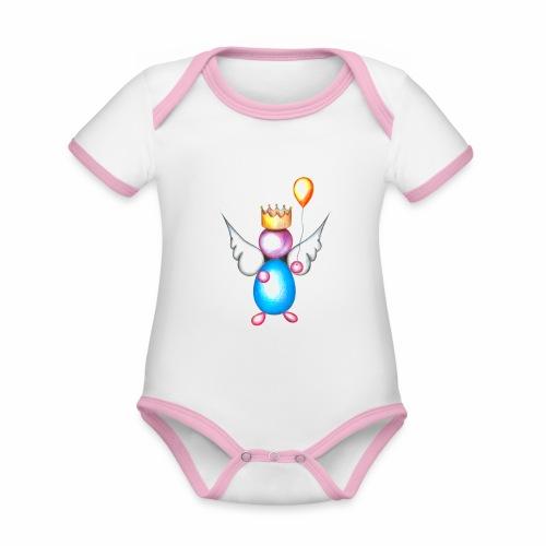 Mettalic Angel geluk - Baby contrasterend bio-rompertje met korte mouwen