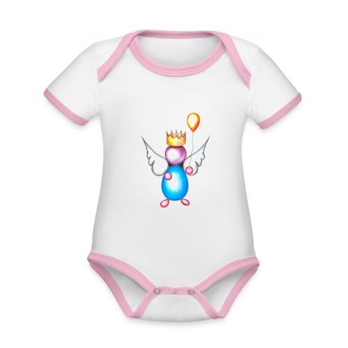 Mettalic Angel happiness - Body Bébé bio contrasté manches courtes