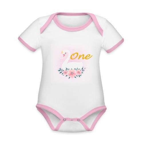 Zwaan one - Baby contrasterend bio-rompertje met korte mouwen