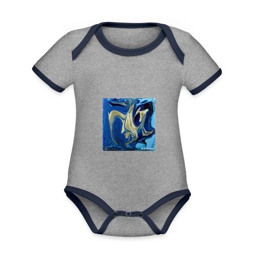 TIAN GREEN Welt Mosaik - AT042 Blue Passion - Baby Bio-Kurzarm-Kontrastbody