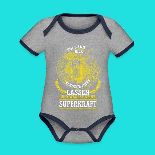 Bier Superkraft - Baby Bio-Kurzarm-Kontrastbody