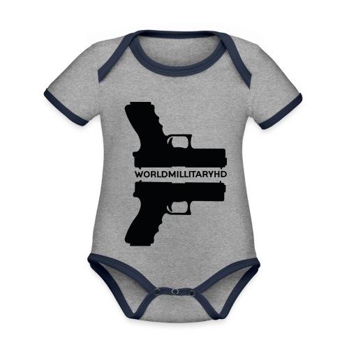 WorldMilitaryHD Glock design (black) - Baby contrasterend bio-rompertje met korte mouwen