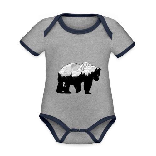 Geometric Mountain Bear - Body da neonato a manica corta, ecologico e in contrasto cromatico
