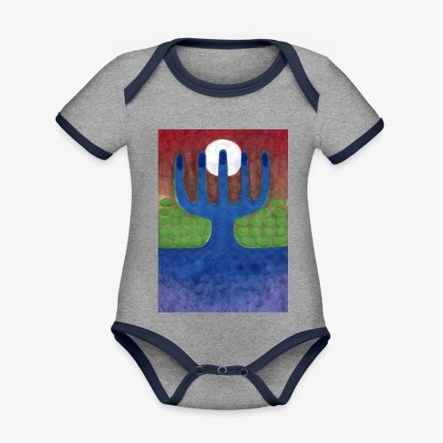 Oaza - Ekologiczne body niemowlęce z krótkim rękawem i kontrastowymi lamówkami