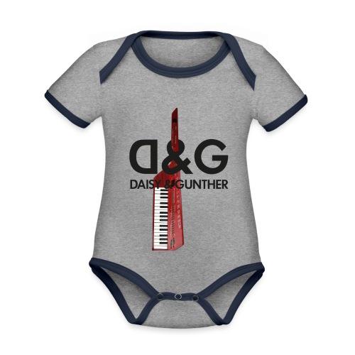 Met keytar-logo - Baby contrasterend bio-rompertje met korte mouwen