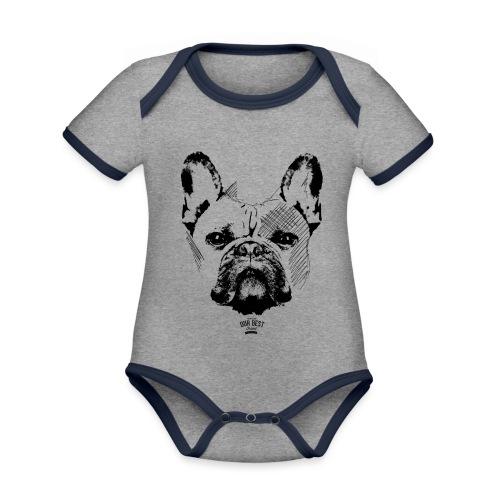 Französische Bulldogge Sketch - Baby Bio-Kurzarm-Kontrastbody