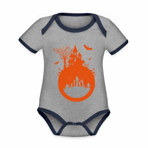 Halloween Design - Das Spukhaus - Baby Bio-Kurzarm-Kontrastbody
