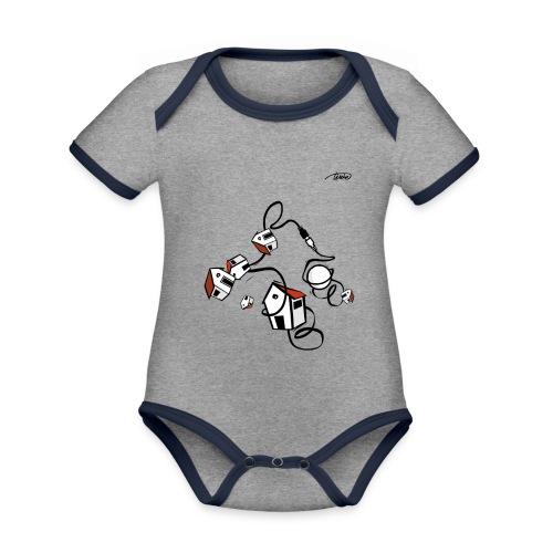 STAY CONNECTED - Body da neonato a manica corta, ecologico e in contrasto cromatico