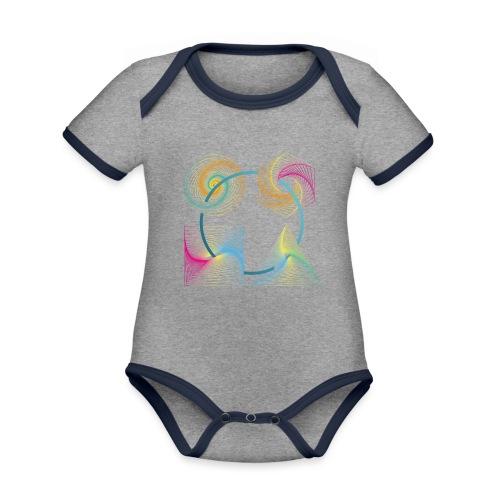 Regenbogen Geometrie - Baby Bio-Kurzarm-Kontrastbody