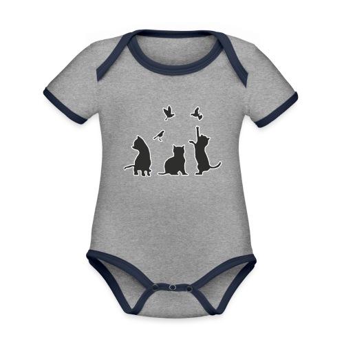 Gatos & Pájaros - Body contraste para bebé de tejido orgánico
