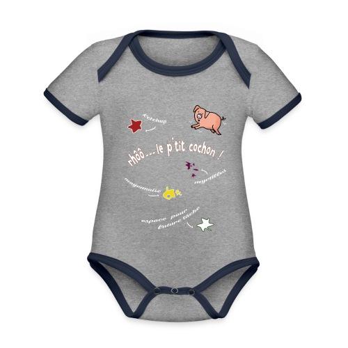 Rhoo le ptit cochon ! (version pour fond sombre) - Body Bébé bio contrasté manches courtes