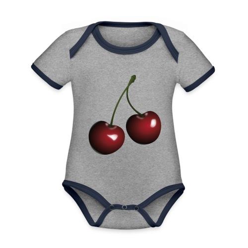 Körsbär - Ekologisk kontrastfärgad kortärmad babybody