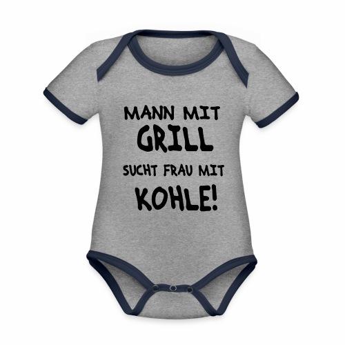 Mann mit Grill - Baby Bio-Kurzarm-Kontrastbody