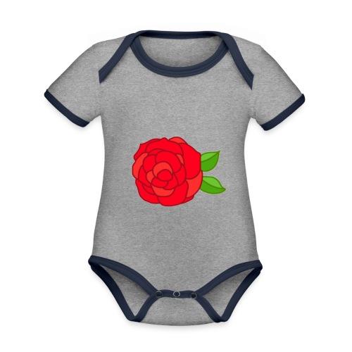 Róża - Ekologiczne body niemowlęce z krótkim rękawem i kontrastowymi lamówkami