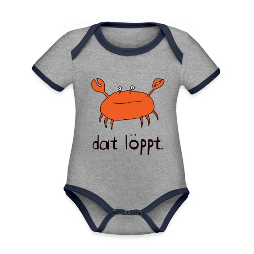 Ostfriesland FUN Shirt - Dat Löppt Strandkrabbe - Baby Bio-Kurzarm-Kontrastbody