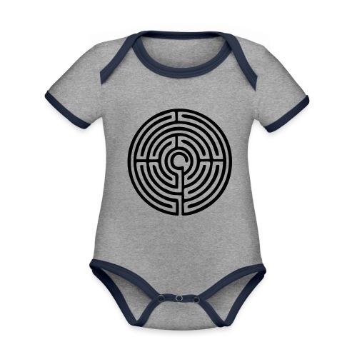 Labyrinth Schutzsymbol Lebensweg Magie Mystik - Baby Bio-Kurzarm-Kontrastbody
