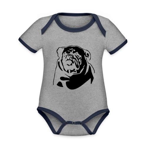 English Bulldog - negative - Vauvan kontrastivärinen, lyhythihainen luomu-body