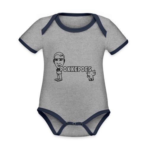 PokkepoesOntwerp3 png - Baby contrasterend bio-rompertje met korte mouwen