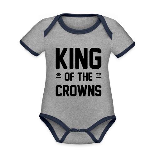 King of the crowns - Baby contrasterend bio-rompertje met korte mouwen