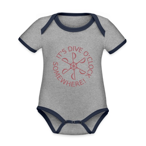 Dive o clock Dark Pink - Organic Baby Contrasting Bodysuit