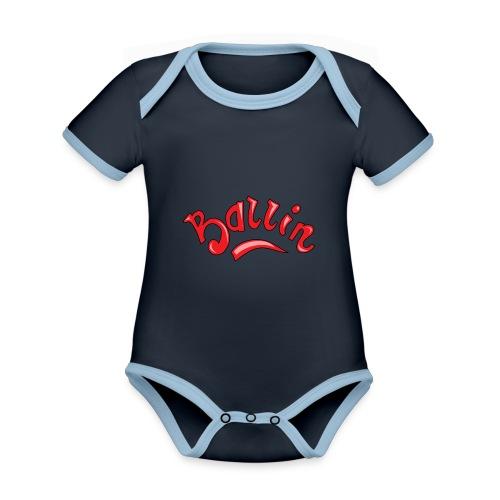 Ballin - Baby contrasterend bio-rompertje met korte mouwen