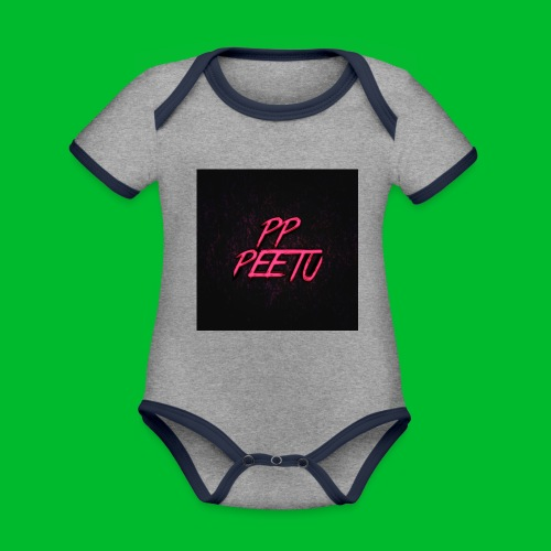 Ppppeetu logo - Vauvan kontrastivärinen, lyhythihainen luomu-body