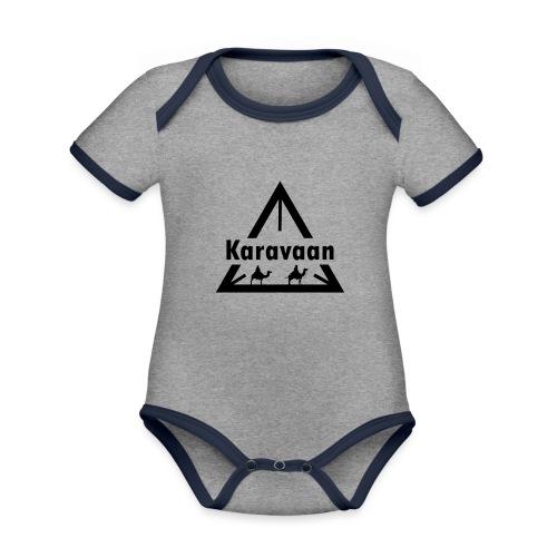 Karavaan Black (High Res) - Baby contrasterend bio-rompertje met korte mouwen