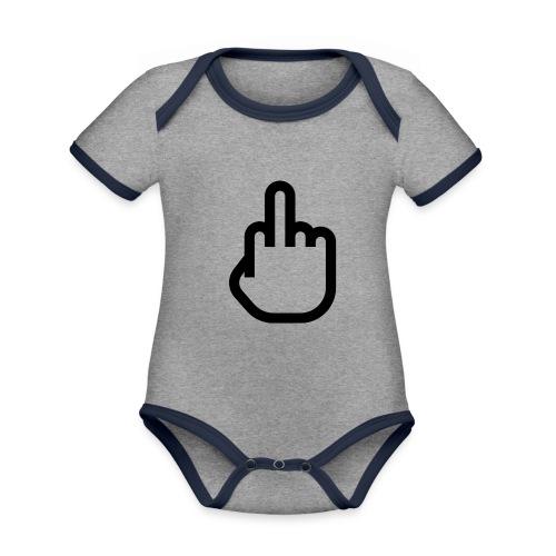 F - OFF - Baby contrasterend bio-rompertje met korte mouwen