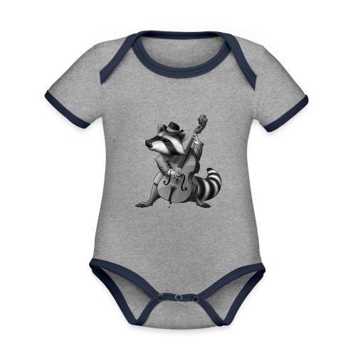 Racoon Musician - Baby Bio-Kurzarm-Kontrastbody