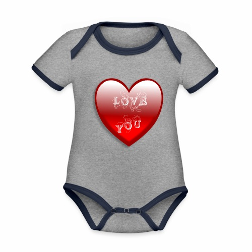 Love You - Baby Bio-Kurzarm-Kontrastbody